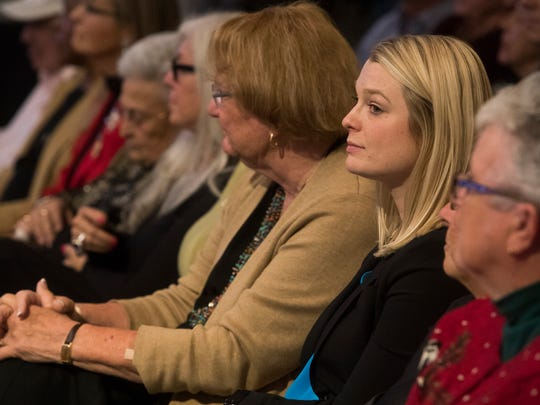 Newly elected Palm Springs City council members second from right, Christy Holstege and Lisa Middleton await to be sworn in on December 6, 2017.