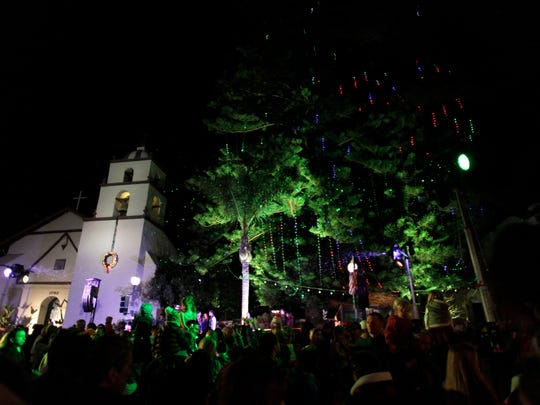 The 2015 tree-lighting ceremony takes place at the San Buenaventura Mission. This year, the lights did not turn on, but it was not the fault of the LED lights themselves.