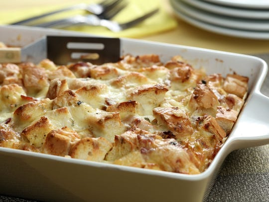 This strata uses big chunks of rustic bread with bacon