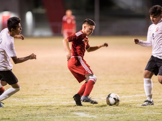 Desert Mirage High School's Alex Pimentel is photographed in Palm Springs during a game against Palm Springs High School on December 7, 2017.