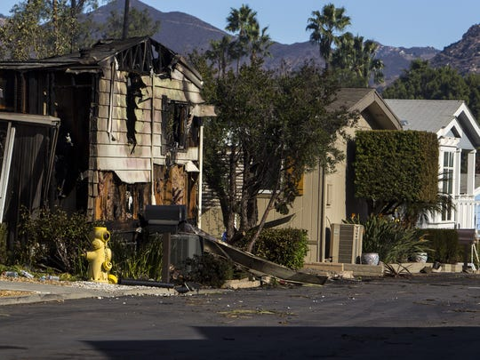 A home destroyed by the Lilac Fire is seen in Rancho