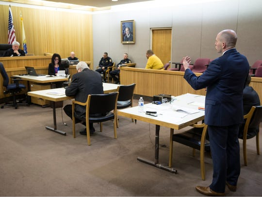 "Assistant prosecutor for Monmouth County addresses the court. Former Asbury Park police officer Keith German is sentenced to 10 years in prison without parole in the ""Operation Dead End"" case.  