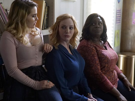 Annie (Mae Whitman, left), Beth (Christina Hendricks) and Ruby (Retta) are moms who break bad in NBC's 'Good Girls.'