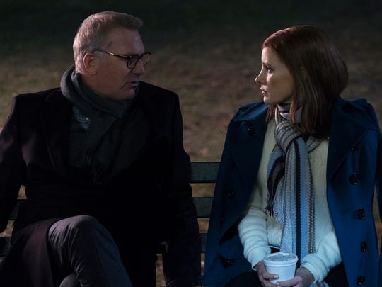 Molly Bloom (Jessica Chastain) has a heart-to-heart with her dad (Kevin Costner) in 'Molly's Game.'