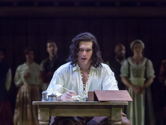 Nicholas Carrieré, as Will Shakespeare, is seen battling