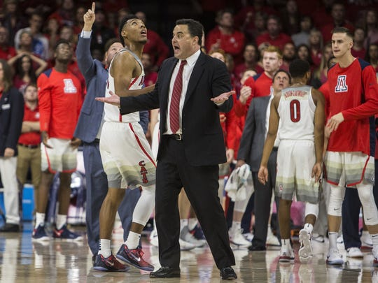 Sean Miller reacts to a call before halftime against ASU at McKale Center in December.