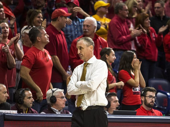 Arizona State head coach Bobby Hurley reacts after