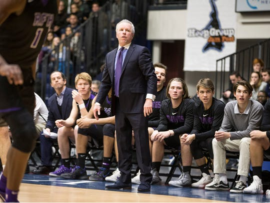 RFH's head coach Chris Champeau.  Rumson-Fair Haven vs Christian Brothers Academy game of the Boardwalk Showcase Tournament at Brookdale Community College.   