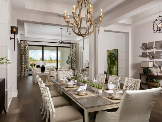 A formal dining room near the Benita's foyer sets an