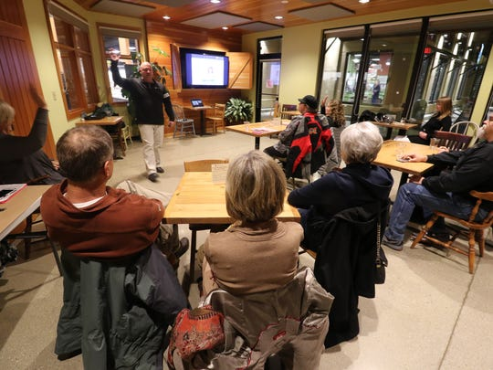 Dr. Andrew Treutelaar makes a presentation on inflamation at the Good Harvest Cafe that is part of Good Harvest Market at 2205 Silvernail Rd. in Waukesha.