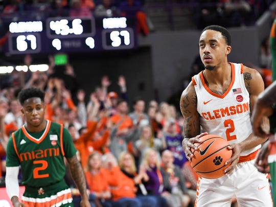 Clemson guard Marcquise Reed (2) shoots a free throw against Miami during the second half at Littlejohn Coliseum in Clemson on Saturday.