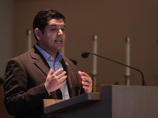 Congressman Raul Ruiz speaks at the Martin Luther King