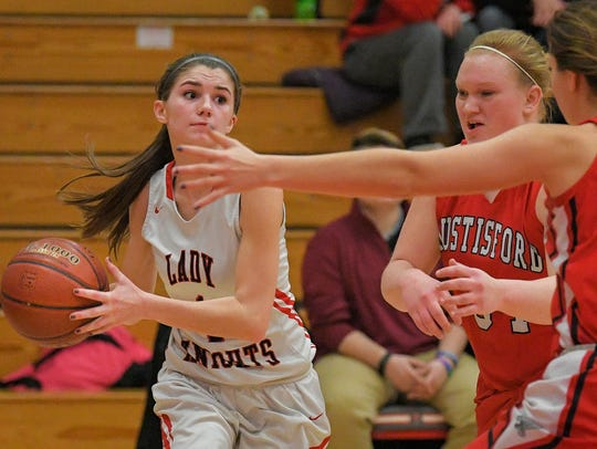 Quinn Godfroy (1) of Lourdes looks for an open teammate against Hustisford on Jan. 18.