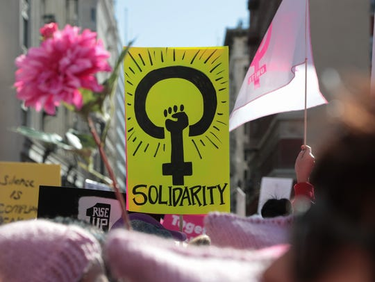 Thousands gather in Pershing Square for the LA Women's