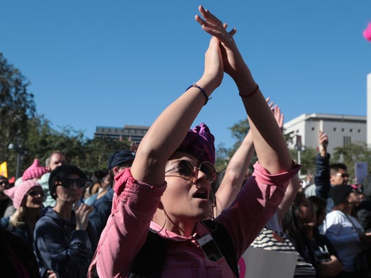 Thousands gather in Grand Park for the LA Women's March, January 20, 2018.