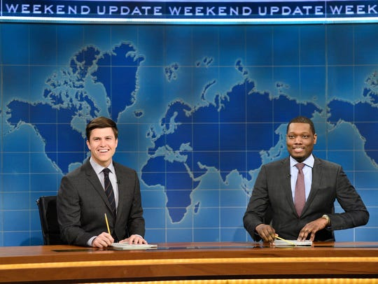 "Colin Jost, left, and Michael Che are co-anchors of ""Weekend Update"" on ""Saturday Night Live."""