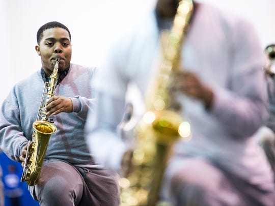 TSU's Aristocrat of Bands practices during a rehearsal