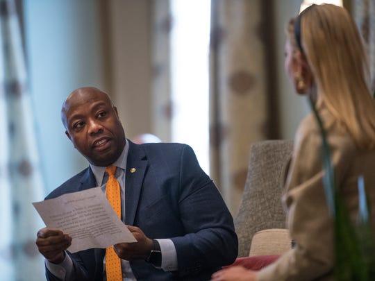 Ivanka Trump and Senator Tim Scott speak during the Women in Leadership Forum at the Poinsett Hotel in Greenville on Friday, January 26, 2018.