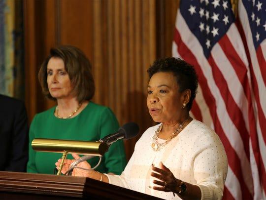 FILE -- U.S. Rep. Barbara Lee, D-Calif.,  joins Democrats
