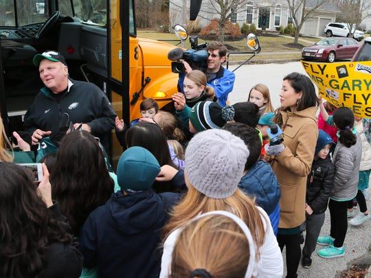Mount Laurel schools bus driver Gary Kelmer was surprised by community members on Monday with tickets to Super Bowl LII. He and his wife will be attending the game. They also received specialized Eagles jerseys with Mr. Gary and Mrs. Gary on the back.