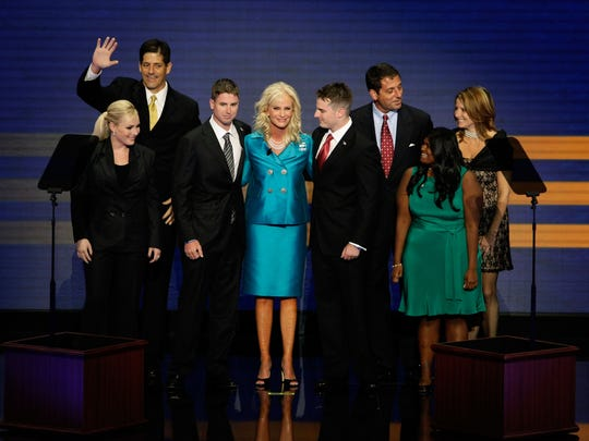 Cindy McCain (center), wife of  Republican U.S presidential