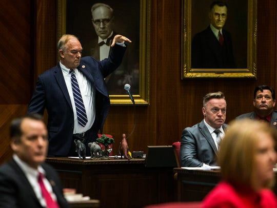Rep. Don Shooter drops his microphone after giving