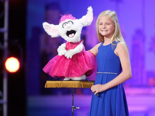 Ventriloquist Darci Lynne Farmer, 13, and her friends perform at the Riverside Theater Saturday.