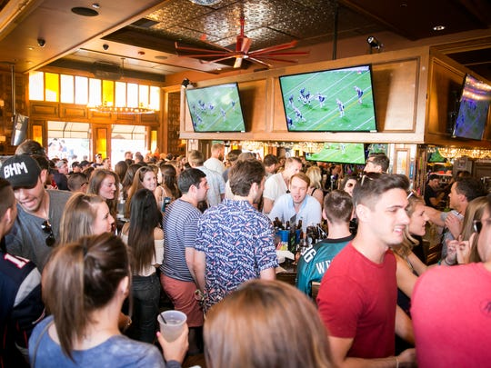 The scene during the official New England Patriots watch party at The Bevvy in Scottsdale on Sunday, February 3, 2018.