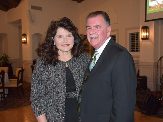 """Brenda and Chuck Bradley at Grand Harbor Golf & TennisClub on Jan. 27 for Camp Haven's """"Diamonds In The Rough"""" gala."""