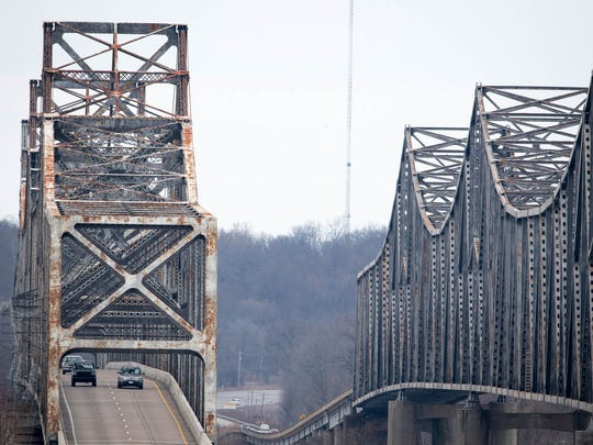 The north and southbound twin bridges, I-69 Ohio River