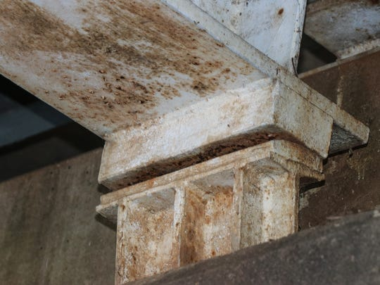 Corrosion is seen under the Surrey Street Bridge across the Vermilion River in Lafayette.