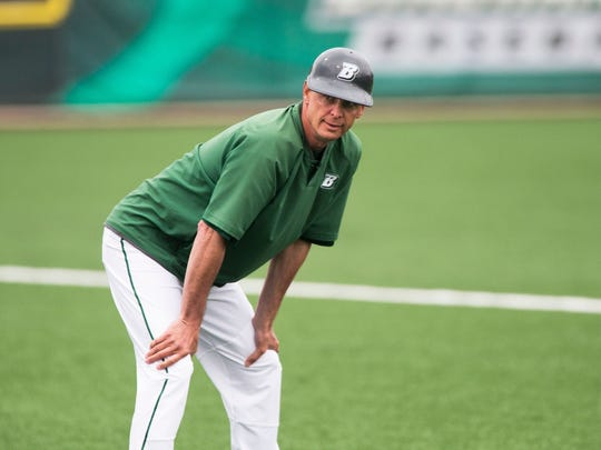 Andrew Thayer / Staff Photo Binghamton University baseball coach Tim Sinicki coaches third base during an April 29 home game against Central Connecticut State. Tim Sinicki, head coach of the Binghamton University baseball team, serves as the third base coach during a home game against Central Connecticut State on Saturday, April 29, 2017.