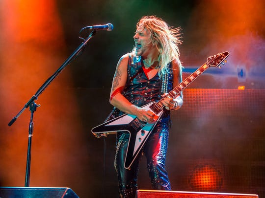 Richie Faulkner of Judas Priest performs on stage during Day 1 of the 2015 Knotfest USA at San Manuel Amphitheater on Saturday, Oct. 24, 2015 in San Bernardino, Calif. (Photo by Paul A. Hebert/Invision/AP)