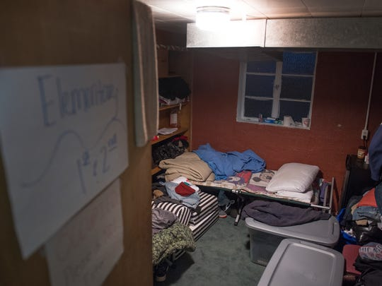 A room being used as a shelter for two individuals who were kicked out of the Economy Inn a few weeks ago at Nicholtown Missionary Baptist Church on Thursday, February 8, 2018.
