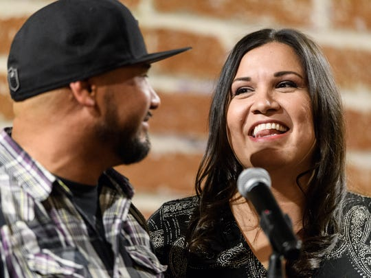 Adam and Raquel Gonzales at the Arizona Storytellers: Romance - or Not at the Changing Hands Bookstore in Phoenix on Feb. 8, 2018.