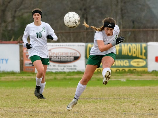 1. Acadiana's Riley Miller scored the Lady Rams' only goal with her patented left good on a penalty kick.