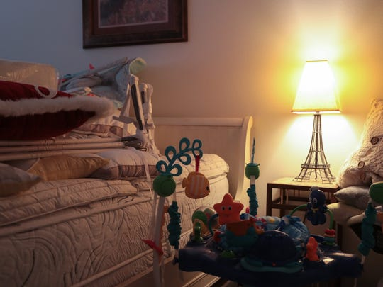 Janet Gassaway's home business, Wanderlust Baby, LLC, rents baby and young child gear, some of which is stored in a guest room in her home, to families visiting the Coachella Valley, Thursday, January 25, 2018.