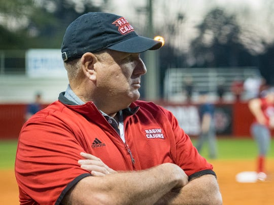 Head Coach Gerry Glasco as the Louisiana Ragin' Cajuns softball take on Oregon. Thursday, Feb. 15, 2018.