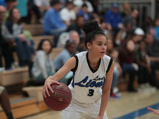 Nina Wallace handles the ball for Cathedral City, Thursday, February 15, 2018.