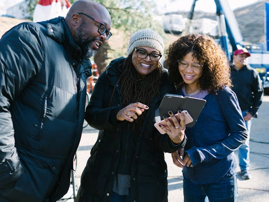 First assistant director Michael J. Moore (from left), director Ava DuVernay and star Storm Reid on the set of 'A Wrinkle in Time.'
