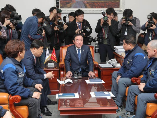 South Korean GM unionists visit parliament, Seoul, Korea - 19 Feb 2018