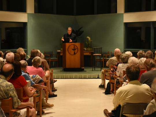 "Kenney speaks to a packed-to-capacity sanctuary. The ""Progressive Voices Speak Out"" lecture series at the Unitarian Universalist Congregation of Geater Naples continued Wednesday evening with a talk by Common Ground co-founder Jim Kenney."