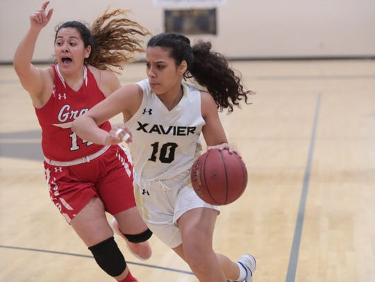 Kylah Toland goes to the basket for Xavier Prep in