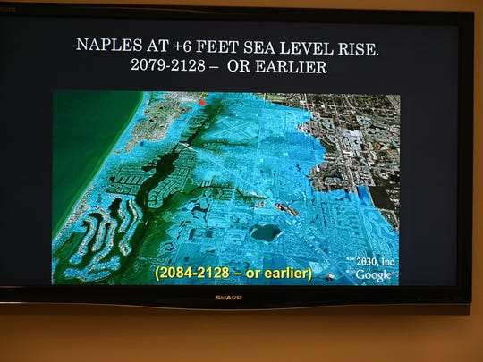 A projection shows Naples with six feet of sea level rise. A climate change workshop at the Unitarian congregation, sponsored by Collier Freedom on Feb. 17, laid out the threats facing the planet and specifically the southern end of the Florida peninsula from global warming and sea level rise.