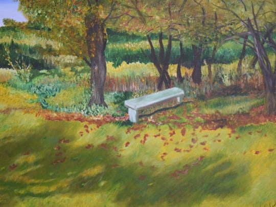 "Empty Bench is the title of an inviting painting by painter/sculptor Laurie Pledl whose first solo exhibition opened March 2 at Inspiration Studios, West Allis. The exhibit, titled ""Touched by Nature,"" will be up at the gallery, 1500 S. 73rd St., until March 25."