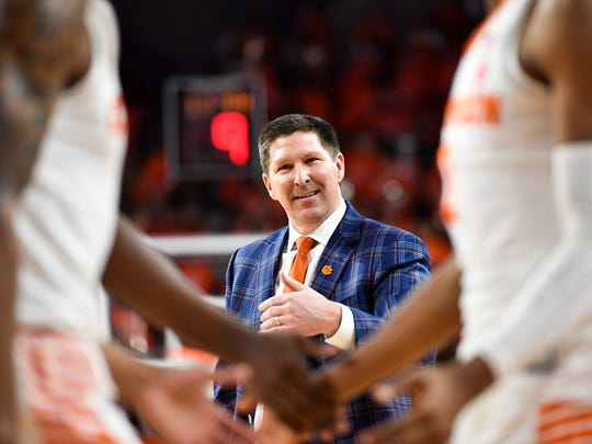 Clemson head coach Brad Brownell during their game
