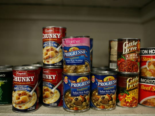File photo taken in 2008 shows canned food gathered