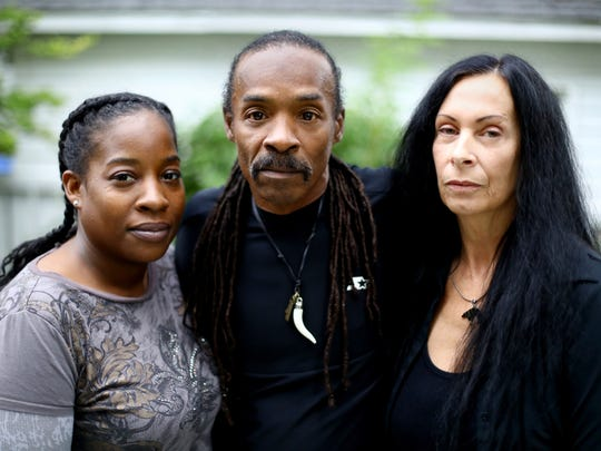 James Morgan is pictured with his wife Rachel and daughter Angela at his residence in Monona, Wis. Morgan, who spent 26 years in prison for sexual assault and other crimes, now wears a GPS ankle bracelet for life. He has been arrested several times due to GPS problems, most recently on July 4, 2017. Despite these challenges, Morgan is moving forward with his life, marrying his longtime girlfriend Rachel on Aug. 26, 2017.