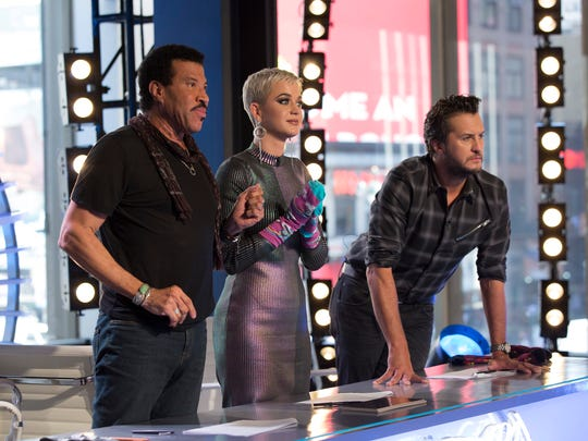 "Lionel Richie, Katy Perry and Luke Bryan on ABC's ""American Idol."""
