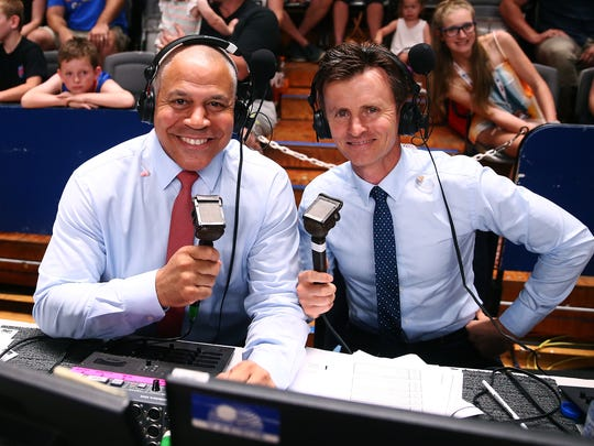 NBL commentators Steve Carfino, left, and Anthony Hudson work a game on Feb. 4, 2017, in Adelaide, Australia.